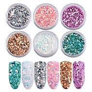 6 farve nail art iridescence flashpudder sequins 1g / box