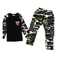 Børn Drenge camouflage Langærmet Normal Normal Bomuld Tøjsæt Army Grøn