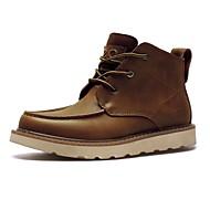abordables -Homme Chaussures Cuir Automne Hiver Bottes de Cowboy / Western Bottes Bottine/Demi Botte Lacet Pour Décontracté Noir Marron