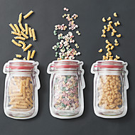 3Pcs Red Jar Pattern Travel Transparent Self-Sealing Food Bag Set