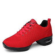 "Women's Dance Sneakers Knit Sneaker Outdoor Low Heel Red Black White 1"" - 1 3/4"""