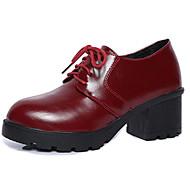 נשים נעליים PU קיץ נוחות נעלי אוקספורד עקב נמוך בוהן עגולה שרוכים עבור קזו'אל שחור בורדו