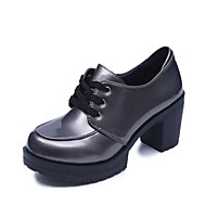 Women's Oxfords Light Soles Summer PU Casual Lace-up Block Heel Silver Black 2in-2 3/4in