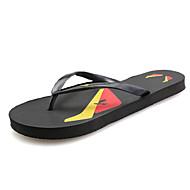 tanie Obuwie męskie-Męskie Buty PU Lato Comfort Klapki i japonki na Casual Black Dark Blue Yellow Czerwony