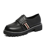 Žene Cipele PU Proljeće Jesen Udobne cipele Oksfordice Ravna potpetica Okrugli Toe Elastika za Kauzalni Crn Burgundac