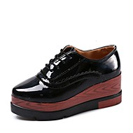 cheap Women's Oxfords-Women's Shoes PU Spring Fall Comfort Oxfords Wedge Heel Pointed Toe Lace-up for Black Beige Dark Brown