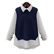 Majica Žene - Vintage Rad Prugasti uzorak Color block Kragna košulje Pamuk