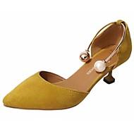 cheap Women's Heels-Women's Shoes PU Winter Fall Light Soles Heels Kitten Heel Pointed Toe Imitation Pearl for Casual Dress Black Yellow