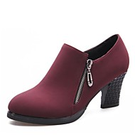 """billige Moderne sko-Dame Moderne Kunstlær Høye hæler utendørs Tykk hæl Svart Rød 2 """"- 2 3/4"""""""