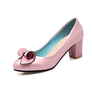 cheap Women's Heels-Women's Shoes Patent Leather Spring Fall Comfort Heels Chunky Heel Round Toe Bowknot for Outdoor Office & Career White Black Blue Pink