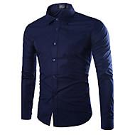 Masculino Camisa Social Casual Tamanhos Grandes Simples Todas as Estações,Sólido Algodão Colarinho de Camisa Manga Longa Média