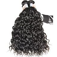 Cabelo Humano Cabelo Indiano Cabelo Humano Ondulado Ondas Leves Extensões de cabelo 3 Peças Preto