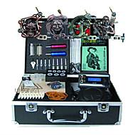 Kompletní Tattoo Kit 4 x tetovací strojek pro linky a stínování z litiny 3 Tetovací strojky LED napájení Inkousty doručena odděleně
