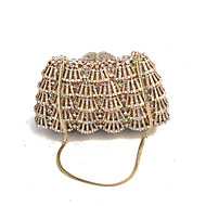 Women Bags Metal Evening Bag Crystal Detailing for Wedding Event/Party Formal All Seasons Gold