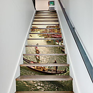 cheap Wall Stickers-13Pcs/Set DIY 3D Stairway Stickers Grand Canal for House Stairs Decoration Large Staircase Wall Sticker Building Boat Decals Home Decor 18*100*13cm