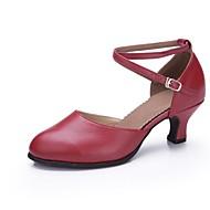 billige Moderne sko-Dame Moderne Lær Høye hæler Profesjonell Spenne Kubansk hæl Gull Svart Sølv Mørkerød 5 cm