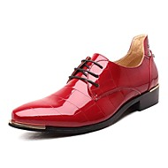 cheap Extended-Size Shoes-Men's Shoes Leather Patent Leather Spring Fall Formal Shoes Comfort Oxfords Rivet Lace-up For Wedding Party & Evening Blue Red Black