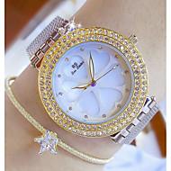 Kadın's Moda Saat Benzersiz Yaratıcı İzle Sahte Elmas Saat Japonca Quartz Paslanmaz Çelik Bant Gümüş