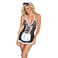 cheap Sexy Uniforms-Maid Costume Nurse Cosplay Costume Women's Christmas Halloween Carnival Oktoberfest New Year Festival / Holiday Halloween Costumes Black