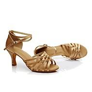 baratos Sapatilhas de Dança-Mulheres Sapatos de Dança Latina Sintético Salto Salto Personalizado Personalizável Sapatos de Dança Castanho Escuro / Nú / Interior