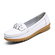 cheap Women's Flats-Women's Shoes Leather Spring Fall Comfort Flats Low Heel Round Toe Lace-up for Casual White Pink Light Blue