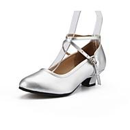 billige Moderne sko-Dame Moderne Lær Høye hæler Profesjonell Spenne Kubansk hæl Gull Svart Sølv Rød Kan spesialtilpasses