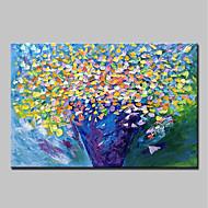 billige Nyheter-Hang malte oljemaleri Håndmalte - Blomstret / Botanisk Abstrakt Moderne Lerret