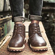 cheap Men's Boots-Men's Shoes Leather Spring / Fall Combat Boots Boots Gray / Yellow / Brown