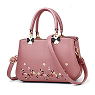 Women Bags PU Tote Pattern / Print Zipper for Casual All Seasons Red Blushing Pink Gray Purple Khaki