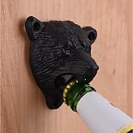 ferro fundido, metal, montado, preto, urso, cerveja, garrafa, abridor, cozinha, útil, ferramenta