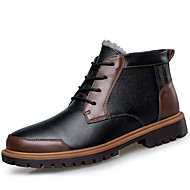 Men's Shoes Cowhide Winter Combat Boots Light Soles Boots For Casual Brown Black