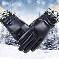 Dámské Jednobarevné Doplňky Zimní Voděodolný Zahřívací Rüzgar Geçirmez Zima K zápěstí Špičky prstů,Žakár PU kůže