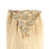 Febay A Clipser Extensions de cheveux Naturel humains Droit Cheveux Naturel humain Extensions Naturelles 14-24 pouce Blond Auburn Marron 1 Bundle Tangel Gratuit Libérer gratuitement Fin saine Femme