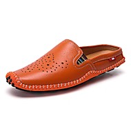 お買い得  メンズクロッグ&ミュール-男性用 靴 レザー 夏 コンフォートシューズ 下駄とミュール のために カジュアル ホワイト ブラック オレンジ