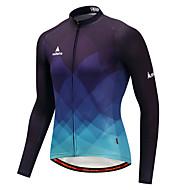 Miloto Herre Langærmet Cykeltrøje - Blå og sort Gradient Cykel Trøje Toppe Sport Vinter Polyster Bjerg Cykling Vej Cykling Tøj / Elastisk