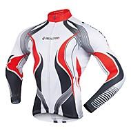 Realtoo Homme Manches Longues Maillot Velo Cyclisme Cyclisme Maillot Hauts / Top Des sports Polyster VTT Vélo tout terrain Vélo Route Vêtement Tenue / Elastique