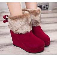 Damer Sko Ægte Læder Nappalæder Vinter Snestøvler Modestøvler Støvler Flad hæl Ankelstøvler Til Afslappet Sort Brun Rød