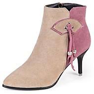 Žene Cipele PU / Brušena koža / Nubuk koža Jesen Modne čizme / Udobne cipele Čizme Stiletto potpetica Krakova Toe za Crn / Badem