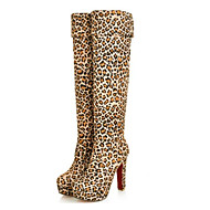 Damer Sko Nappalæder Vinter Modestøvler daske støvler Støvler Flad hæl Knæhøje støvler Til Afslappet Sort Brun Blå Leopard