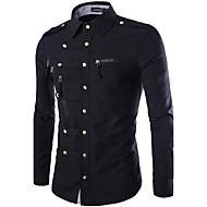 Klassisk krave Tynd Herre - Ensfarvet Bomuld Vintage / Afslappet / Militær Skjorte / Langærmet