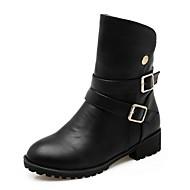 Feminino Sapatos Courino Primavera Inverno Botas da Moda Curta/Ankle Botas Salto Grosso Ponta Redonda Botas Curtas / Ankle Presilha Para