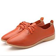 Kadın Ayakkabı Gerçek Deri Bahar Yaz Rahat Oxford Modeli Uyumluluk Günlük Siyah Turuncu Sarı