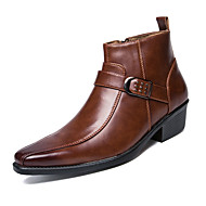 cheap Men's Boots-Men's Fashion Boots Leather Fall / Winter Boots Booties / Ankle Boots Black / Brown / Party & Evening