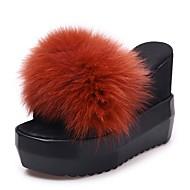 Feminino Sapatos Couro Ecológico Outono Inverno Conforto Chinelos e flip-flops Anabela Dedo Aberto Para Casual Preto Castanho Claro Vinho
