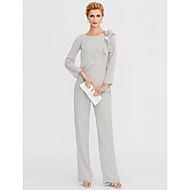 Pantsuit Ovalni izrez Do poda Šifon Haljina za majku mladenke s Kristalni detalji Drapirano sa strane po LAN TING BRIDE®