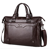 Men Bags Other Leather Type Briefcase Zipper for Casual All Seasons Chocolate Black Brown