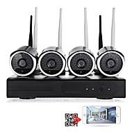 Χαμηλού Κόστους Yan Se-yanse® 4ch ασύρματο κιτ nvr 1.0mp αδιάβροχο νυχτερινό όραμα ασφάλεια ip κάμερα wifi σύστημα παρακολούθησης cctv