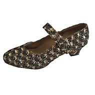 billige Moderne sko-Dame Moderne Glimtende Glitter Sandaler Innendørs Kustomisert hæl Bronse Rød Kustomisert hæl