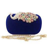 baratos Clutches & Bolsas de Noite-Mulheres Bolsas Veludo Bolsa de Festa Botões / Detalhes em Cristal Roxo / Fúcsia / Azul Real