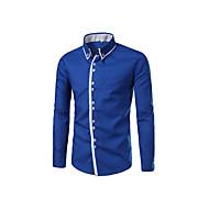 Langærmet Krave Herrer Ensfarvet Simpel Afslappet/Hverdag Skjorte,Bomuld
